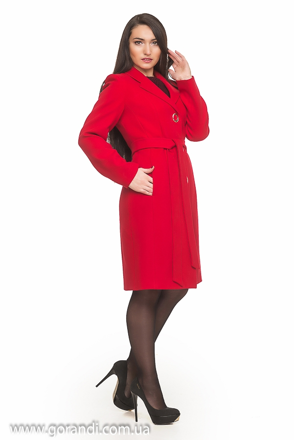 04b2e8dbf453 Пальто женское классическое осеннее, весеннее, демисезонное из кашемира,  красное, с поясом, ...