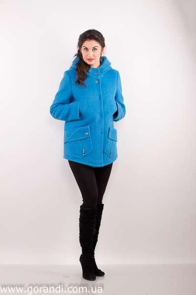 2b9f43de1919 ... Куртка женская с капюшоном, голубого цвета. С накладными карманами.  фото Размер  44